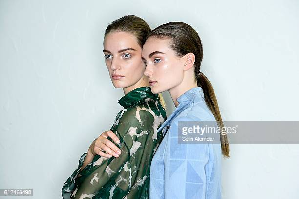 Models are seen backstage ahead of the Mila Schon show during Milan Fashion Week Spring/Summer 2017 on September 26 2016 in Milan Italy