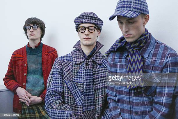 Models are seen backstage ahead of the Missoni show during Milan Men's Fashion Week Fall/Winter 2017/18 on January 15 2017 in Milan Italy