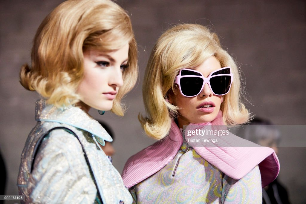 Models are seen backstage ahead of the Moschino show during Milan Fashion Week Fall/Winter 2018/19 on February 21, 2018 in Milan, Italy.