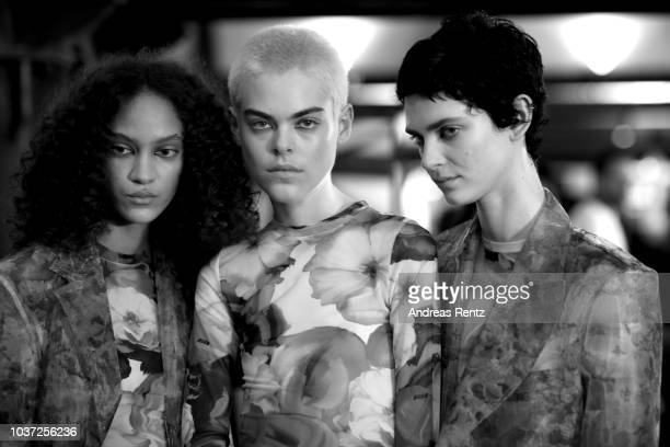 A model is seen backstage ahead of the MSGM show during Milan Fashion Week Spring/Summer 2019 on September 21 2018 in Milan Italy