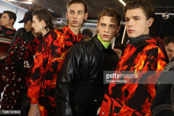 Models are seen backstage ahead of the MSGM show during Milan Menswear Fashion Week Autumn/Winter 2019/20 on January 13, 2019 in Milan, Italy.