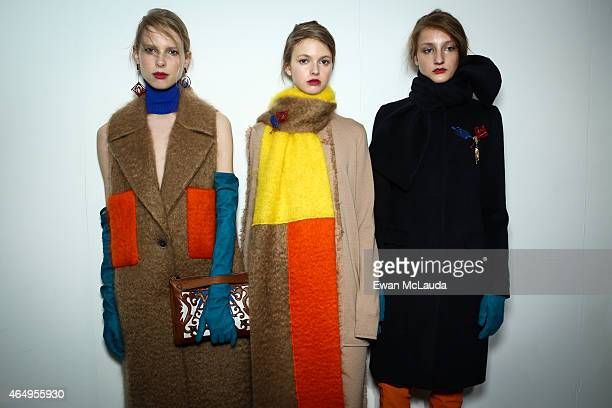 Models are seen backstage ahead of the MSGM show during the Milan Fashion Week Autumn/Winter 2015 on March 1 2015 in Milan Italy