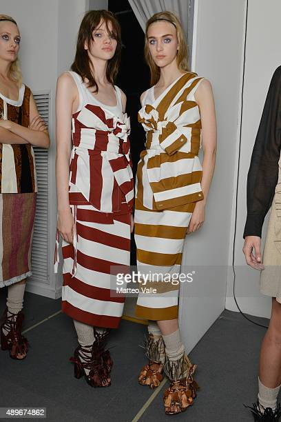 Models are seen backstage ahead of the N.21 show during Milan Fashion Week Spring/Summer 2016 on September 23, 2015 in Milan, Italy.