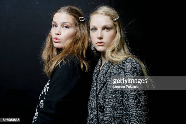 Models are seen backstage ahead of the N21 show during Milan Fashion Week Fall/Winter 2017/18 on February 22 2017 in Milan Italy