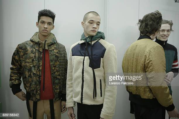 Models are seen backstage ahead of the N21 show during Milan Men's Fashion Week Fall/Winter 2017/18 on January 16 2017 in Milan Italy