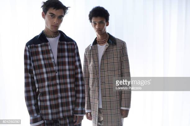 Models are seen backstage ahead of the N21 show during Milan Men's Fashion Week Spring/Summer 2018 on June 19 2017 in Milan Italy