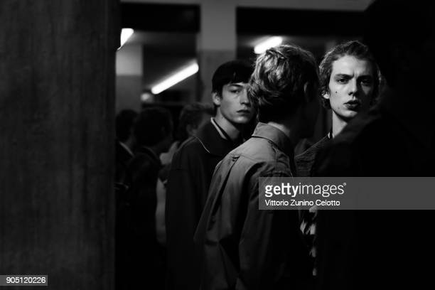 Models are seen backstage ahead of the N21 show during Milan Men's Fashion Week Fall/Winter 2018/19 on January 15 2018 in Milan Italy
