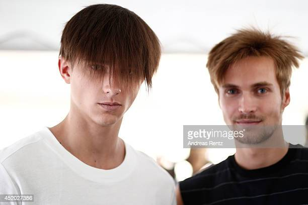 Models are seen backstage ahead of the Odeur show during the MercedesBenz Fashion Week Spring/Summer 2015 at Erika Hess Eisstadion on July 11 2014 in...