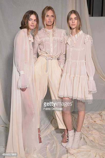 Models are seen backstage ahead of the Philosophy Di Lorenzo Serafini show during the Milan Fashion Week Autumn/Winter 2015 on February 27 2015 in...