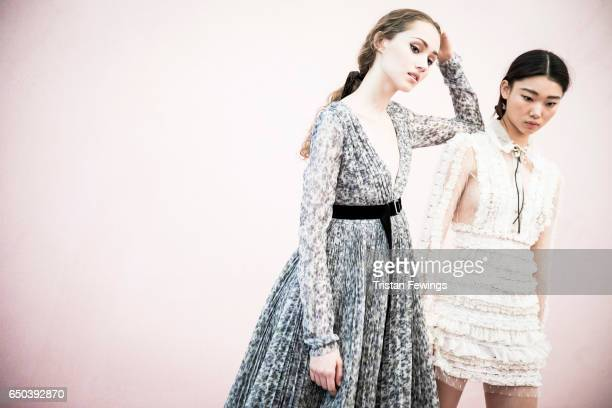 Models are seen backstage ahead of the Philosphy Di Lorenzo Serafini show during Milan Fashion Week Fall/Winter 2017/18 on February 25 2017 in Milan...