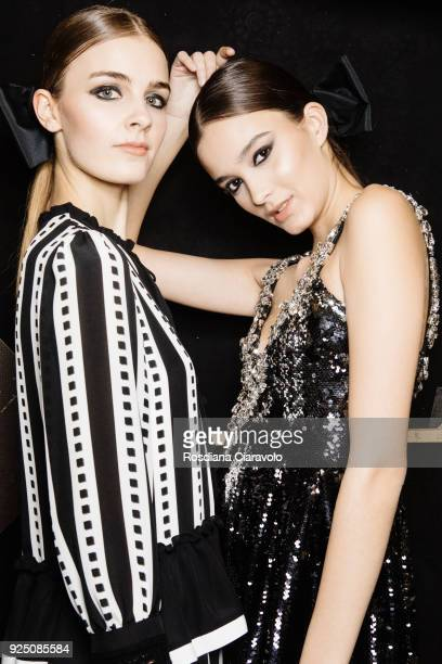 Models are seen backstage ahead of the PiccionePiccione show during Milan Fashion Week Fall/Winter 2018/19 on February 25 2018 in Milan Italy