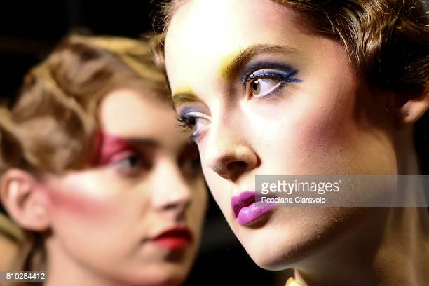 Models are seen backstage ahead of the Raquel Hladky show during the Mercedes-Benz Fashion Week Berlin Spring/Summer 2018 at Kaufhaus Jandorf on July...