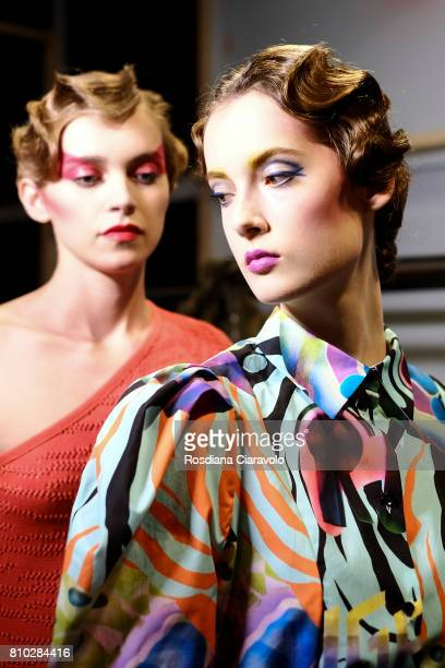 Models are seen backstage ahead of the Raquel Hladky show during the MercedesBenz Fashion Week Berlin Spring/Summer 2018 at Kaufhaus Jandorf on July...