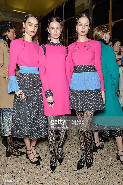 Models are seen backstage ahead of the San Andres Milano show during Milan Fashion Week Fall/Winter 2016/17 on February 29 2016 in Milan Italy