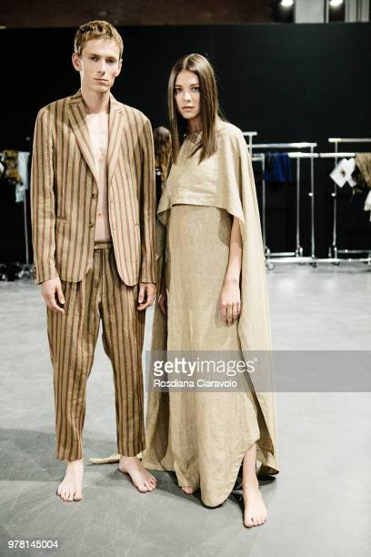 Models are seen backstage ahead of the Sartorial Monk show during Milan Men's Fashion Week Spring/Summer 2019 on June 18 2018 in Milan Italy