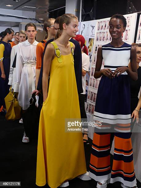 Models are seen backstage ahead of the Sportmax show during Milan Fashion Week Spring/Summer 2016 on September 25 2015 in Milan Italy