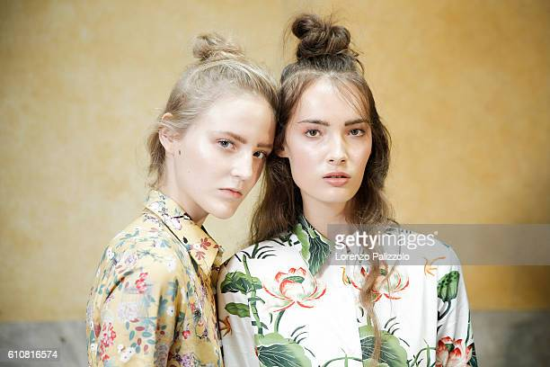 Models are seen backstage ahead of the Stella Jean show during Milan Fashion Week Spring/Summer 2017 on September 25 2016 in Milan Italy