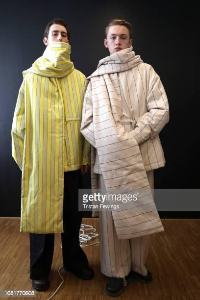 Models are seen backstage ahead of the Sunnei show during Milan Menswear Fashion Week Autumn/Winter 2019/20 on January 13 2019 in Milan Italy