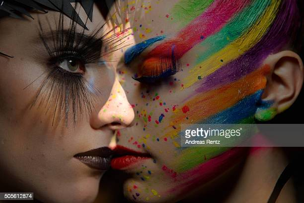Models are seen backstage ahead of the 'The Power Of Colors MAYBELLINE New York MakeUp Runway' show during the MercedesBenz Fashion Week Berlin...