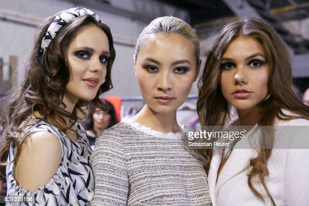 Models are seen backstage ahead of the Thomas Rath show during Platform Fashion July 2017 at Areal Boehler on July 23 2017 in Duesseldorf Germany
