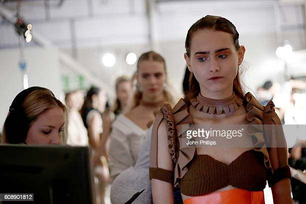 Models are seen backstage ahead of the Toga show during London Fashion Week Spring/Summer collections 2017 on September 20 2016 in London United...