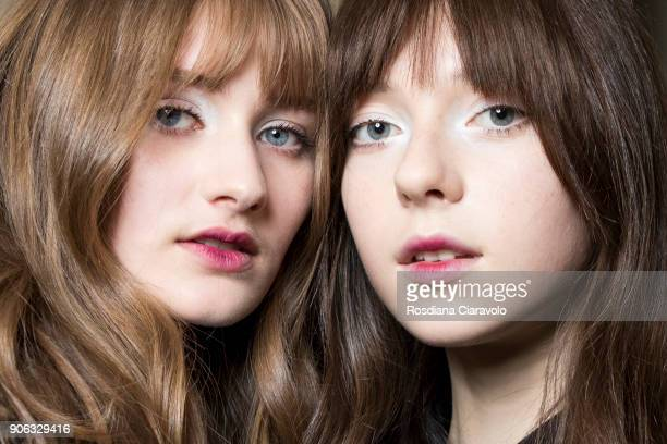 Models are seen backstage ahead of the Twin Set show on January 17 2018 in Milan Italy
