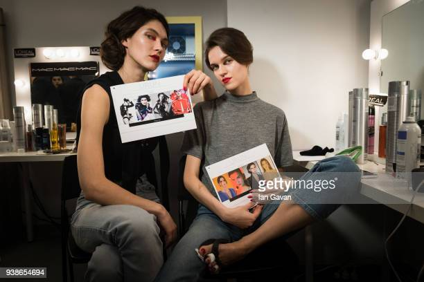 Models are seen backstage ahead of the Urun show during MercedesBenz Istanbul Fashion Week at the Zorlu Performance Hall on March 27 2018 in Istanbul...