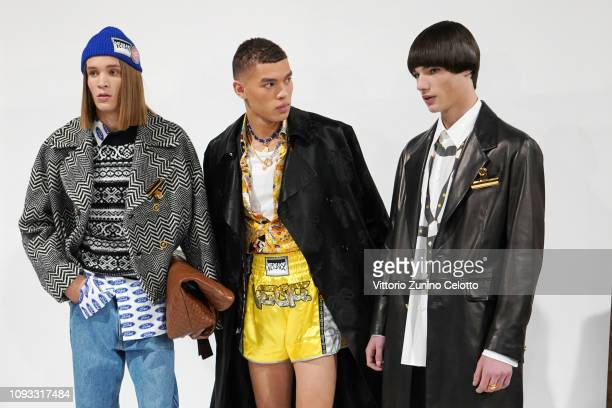 Models are seen backstage ahead of the Versace show during Milan Menswear Fashion Week Autumn/Winter 2019/20 on January 12 2019 in Milan Italy