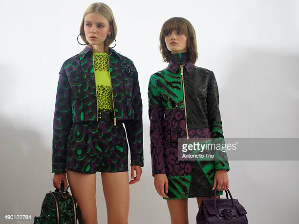 Models are seen backstage ahead of the Versace show during Milan Fashion Week Spring/Summer 2016 on September 25 2015 in Milan Italy