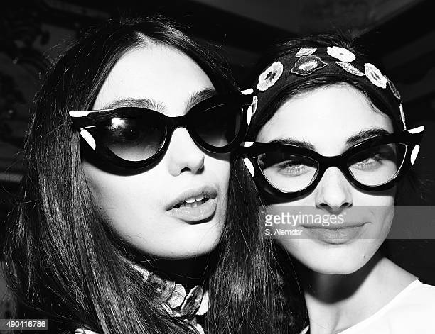 Models are seen backstage ahead of the Vivetta fashion show during the Week Spring/Summer 2016 on September 28 2015 in Milan Italy