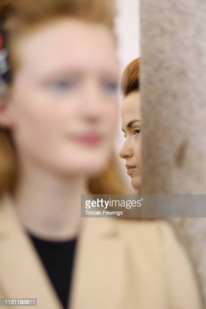 Models are seen backstage ahead of the Vivetta show at Milan Fashion Week Autumn/Winter 2019/20 on February 21, 2019 in Milan, Italy.
