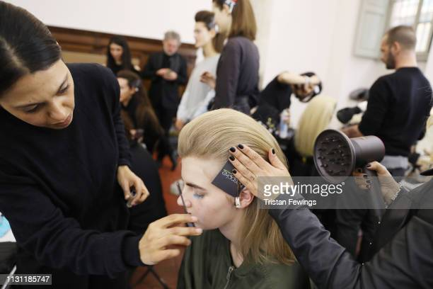 Models are seen backstage ahead of the Vivetta show at Milan Fashion Week Autumn/Winter 2019/20 on February 21 2019 in Milan Italy