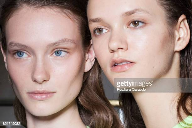 Models are seen backstage ahead of the Vivetta show during Milan Fashion Week Spring/Summer 2018 on September 21 2017 in Milan Italy