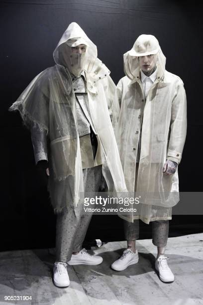Models are seen backstage ahead of the Yoshio Kubo show during Milan Men's Fashion Week Fall/Winter 2018/19 on January 15 2018 in Milan Italy