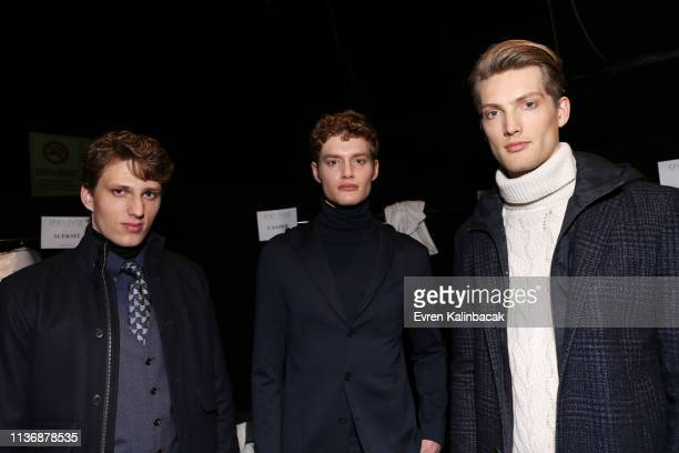 Models are seen backstage ahead the Damat show during MercedesBenz Istanbul Fashion Week at the Zorlu Performance Hall on March 19 2019 in Istanbul...