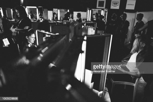 Models are seen backstage ahead the Fashionyard show during Platform Fashion July 2018 at Areal Boehler on July 21 2018 in Duesseldorf Germany