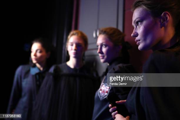 Models are seen backstage ahead the Ozlem Kaya show during MercedesBenz Istanbul Fashion Week at the Zorlu Performance Hall on March 20 2019 in...
