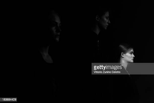 Models are seen backstage at the Asu Aksu show during MercedesBenz Fashion Week Istanbul s/s 2014 presented by American Express on October 8 2013 in...