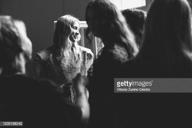 Models are seen backstage at the Bik Bok Runway Award during Oslo Runway SS19 at Bankplassen 4 on August 16 2018 in Oslo Norway