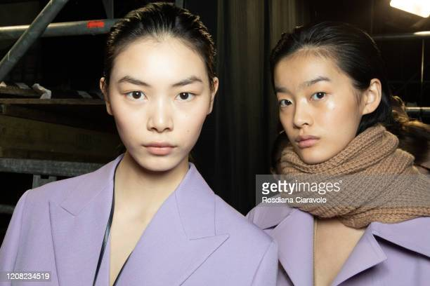 Models are seen backstage at the Boss fashion show on February 23, 2020 in Milan, Italy.