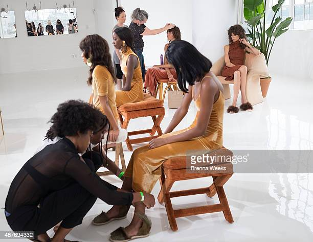 Models are seen backstage at the Brothers Vellies Presentation for Spring 2016 New York Fashion Week at Jack Studios on September 10 2015 in New York...