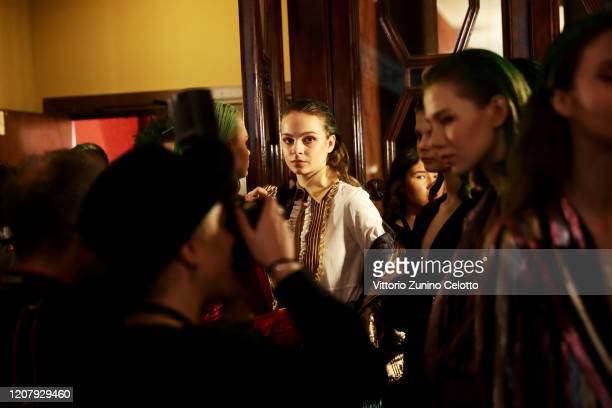 Models are seen backstage at the Francesca Liberatore fashion show on February 22 2020 in Milan Italy
