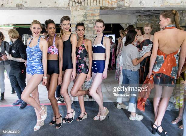 Models are seen backstage at the Greenshowroom Ethical Fashion Show during the MercedesBenz Fashion Week Berlin Spring/Summer 2018 at Funkhaus Berlin...