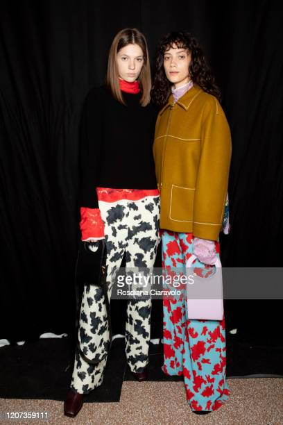Models are seen backstage at the Marco Rambaldi fashion show on February 19 2020 in Milan Italy