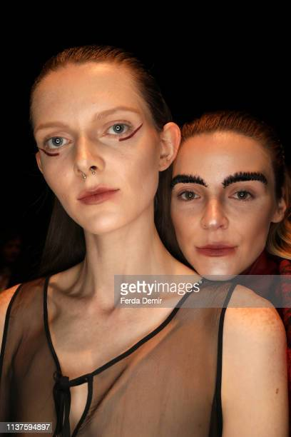 Models are seen backstage at the MiiN by Kadir Kilic show during MercedesBenz Istanbul Fashion Week at Zorlu Performance Hall on March 22 2019 in...
