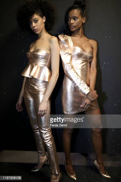 Models are seen backstage at the Murat Aytulum show during MercedesBenz Istanbul Fashion Week at the Zorlu Performance Hall on March 21 2019 in...
