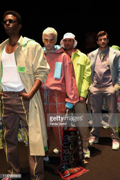 Models are seen backstage at the New GEN by IMA show during MercedesBenz Istanbul Fashion Week at Zorlu Performance Hall on March 21 2019 in Istanbul...