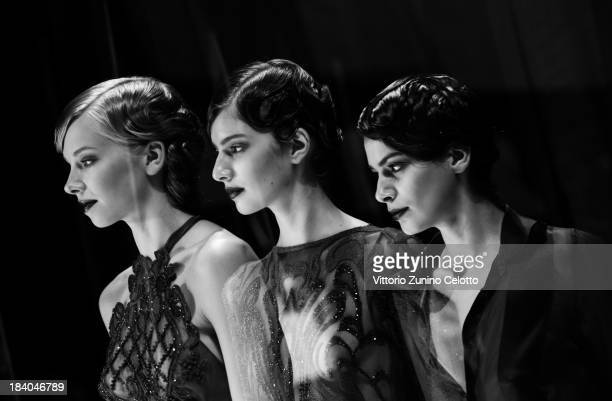 Models are seen backstage at the RaisaVanessa Sason show during MercedesBenz Fashion Week Istanbul s/s 2014 Presented By American Express on October...