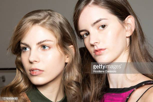 Models are seen backstage at the Shi.Rt fashion show during the Milan Women's Fashion Week on September 27, 2020 in Milan, Italy.