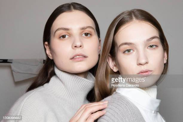 Models are seen backstage at the Simona Marziali MRZ fashion show on February 23, 2020 in Milan, Italy.
